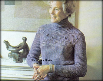 No.476 PDF Knitting Pattern Women's Lace & Rib Turtleneck Back-Button Sweater - Cardigan - Vintage 1970's Retro Knitting Pattern