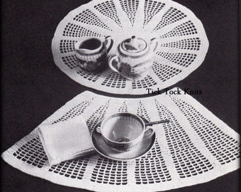 No.545 Place Mat Crochet Pattern PDF - Place Setting For Round Tables - Placemat Table 1960's Vintage Crochet Pattern