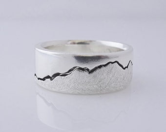 Olympics Mountain Ring, 8mm Band, Northwest Ring, Handcrafted recycled with Silver, Gold, Palladium & Platinum, Seattle Mountain Ring