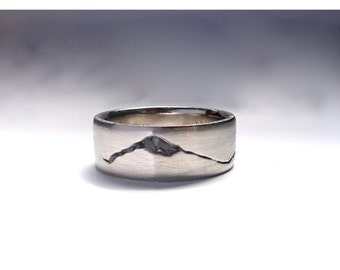 Summit Mountain Range Ring, 7mm band, Rock Inlay Mountain Band, Handmade in Recycled Precious Metals, Mountain Wedding Band