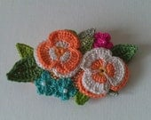 Floral Textile Brooch - Floral Pin - Flower Brooch - Mothers Day Gift - Crochet Jewellery - Statement Brooch - Ready to Ship