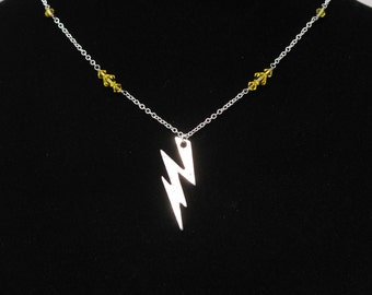 Silver The Flash/Reverse Flash Superhero Inspired Lightning Bolt Necklace