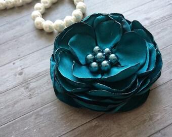Teal,Green Flower Hair Clip, Wedding Hair Flower, Bridal Piece, Bridesmaid Hair Accessories, Flower for Hair, Bride Hair Piece, Fascinator