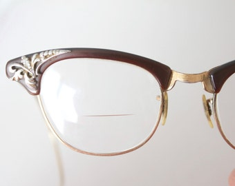 Vintage 50's 12K Gold Filled Etched Espresso Cat Eye Eyeglasses