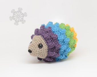 Colorful Crochet Hedgehog, Natural Toy