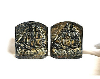 Judd 1920s Bronze Clad Iron Ship President Bookends, Pair Sale
