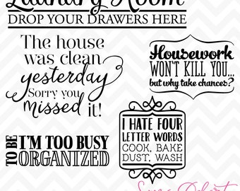 80% OFF Sale Svg Cuttables Laundry and Chores Quotes Cut Files Set DXF SDD027