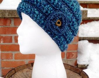 Blue Crocheted Beanie with Flower, Metallic Trim Beanie, Crocheted Beanies for Women, Womans Hat with Flower Accent, Flower Accent Beanie