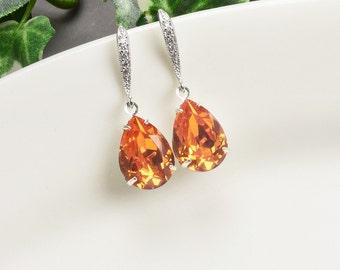 Orange Earrings - Silver Tangerine Swarovski Crystal Teardrop Earrings - Orange Bridesmaid Earrings - Wedding Jewelry - Bridal