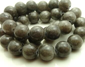 10mm Dark Gray Mashan Jade Round Gemstone Beads - 16 Inch Strand - BE21