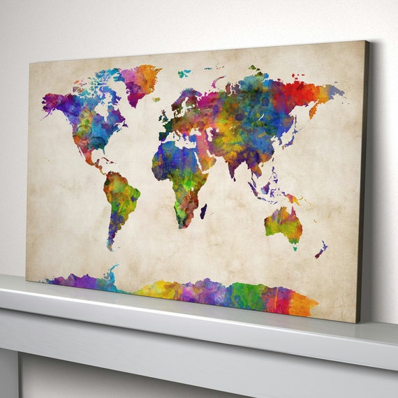 World map canvas watercolour map of the world box canvas art like this item gumiabroncs Choice Image