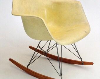 ALL ORIGINAL Eames RAR Zenith rope edge rocking chair vintage yellow Herman Miller