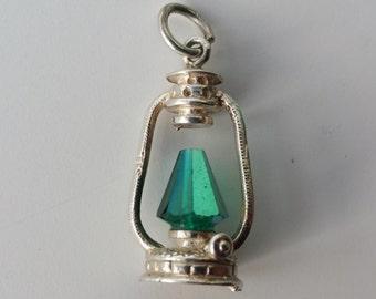 Green Hanging Lantern Charm. Vintage Sterling Silver Gem Set Hurrican Lamp Bracelet Charm. Pendant