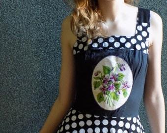 Black and white polka dot Dresses, Vintage Needlepoint flowers