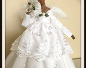 African American Angel Tree Topper Black Angel in All White Shabby Cottage Chic OOAK Porcelain Easter Gift