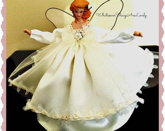 Small Ivory Angel Tree Topper, Tree Topper for a Small Tree. Blonde Porcelain Angel, Mini Tree Topper