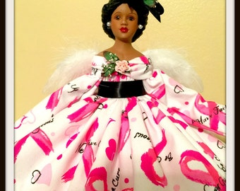 African American Breast Cancer Awareness Angel, Black Angel, Pink Ribbon Angel, Angel Tree Topper