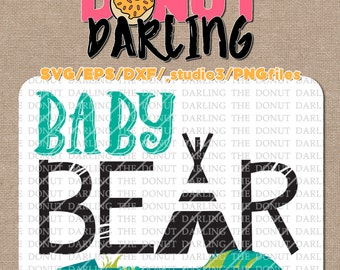 Instant Download: Baby Bear svg / eps / dxf / png - iron on - Cutting File, Silhouette, Cricut, Vinyl Cutting