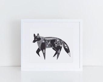 Fox Print / 5x7 Original Illustration Print / Folk Art / Black and White / Red Fox Art