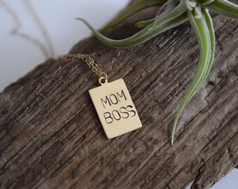mom boss necklace, hand stamped personalized, mompreneur, mom trends, vintage upcyled jewelry, mothers day gift, gift for her, gift under 25