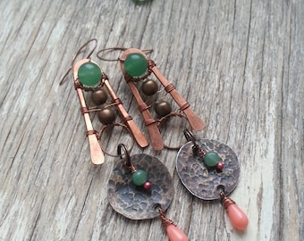Long Tribal Wire Wrap Earrings - green Earrings - Antique Wire Wrapped Copper Earrings - Antique Bohemian Earrings - Gypsy African Boho
