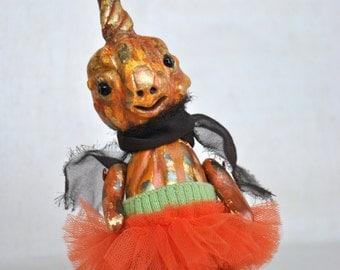 Halloween petite Ms. Pumpkin in tutu skirt art OOAK doll
