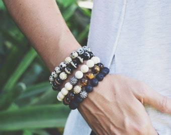 Set of 3 // Stretch Gemstone Bracelets // Neutral Gemstone Bracelets // Bracelet Stack // Your Choice of 3