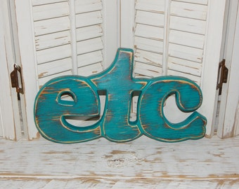 Etc Sign Distressed Word Sign Shabby Chic Wall Decor