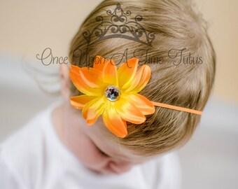 Orange Tropical Lily Flower Headband - Newborn Baby Infant Toddler Little Girls Hair Bow - Hawaiian Luau Skinny Hair Band Accessories