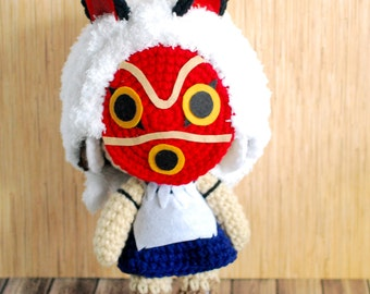 San - Inspired in Princess Mononoke - Crochet Amigurumi Doll - Plush Toy - Studio Ghibli Inspired - Animated Cartoons Anime Character