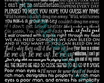 Rolling Stones Typography Song Lyric Art Print 11 by 14