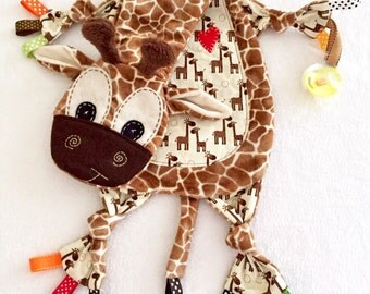 Baby Lovey Blanket Giraffe Binkie Lovey Toy Friend