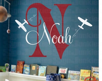Airplane Wall Decal, Personalized Airplane Nursery, Airplane Decor, Airplane Nursery, Nursery Plane, Airplane Wall Decal - WD0001