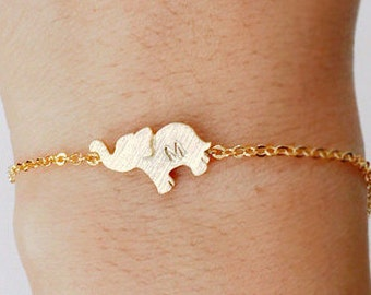 Elephant bracelet, Personalized bracelet, initial bracelet, sterling silver,Personalized Jewelry, friendship,christmas gift, animal jewelry