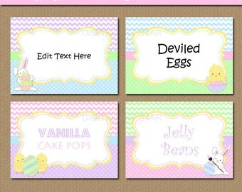 Printable Easter Place Cards - EDITABLE Easter Labels - Easter Decor - Candy Buffet Tags - Chevron Buffet Cards - Bunny Labels Template