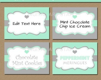 Mint and Grey Labels - Candy Station Labels - Mint Grey Wedding Labels - Printable Buffet Cards, Tent Cards, Place Cards - EDITABLE TEXT