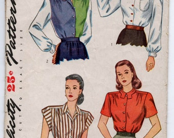 """1940's Simplicity Blouse Pattern - Bust 36"""" - UC/FF - No. 1538"""