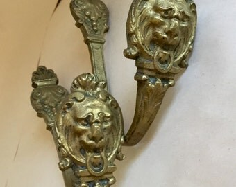 SALE 1 Pair, or Two Antique French Tie-Back Curtain Sconces or Hooks