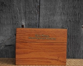 vintage Gold Medal recipe box - oak hinged box - filled with recipes from the 1930's