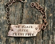 Tennessee bracelet, copper tennessee bracelet, state bracelet, state jewelry