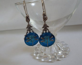Czech Glass Button Earrings, Dangle,  Dragonfly, Blue
