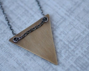 Brass Triangle Necklace, Riveted Triangle Necklace, Geometric Necklace