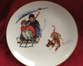 "Norman Rockwell Plate The Four Season ""Downhill Daring"" by Gorham China"