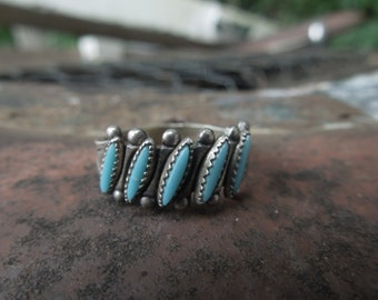 Bell Trading Post Ring Native American Zuni Petit Point Sterling Silver Turquoise Ring Size 7