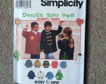 Children's Jacket Pattern, Jacket with Optional Lining and Hood, Kid's Fall Coat Sewing Pattern, Simplicity 9303 Sizes 5 6 7 8