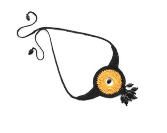 Crochet  Statement Necklace - Circle Necklace - Linen Necklace - Choker - Yellow Black Necklace with Onyx Beads