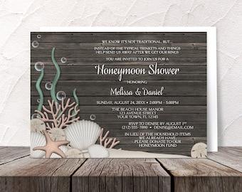 Beach Honeymoon Shower Invitations Rustic Wood design - Printed Invitations