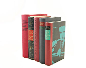 GERMAN Decorative Books, Red Book Decor, Old Books, Book Collection, Vintage Books, Book Set, Instant Library, German Decor, Black Books