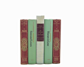 Mint & Marsala BOoks,Green Decorative Books, Wedding Centerpiece, Wine Book Set, Vintage Book Decor, Antique BOok Collection,  Mark Twain