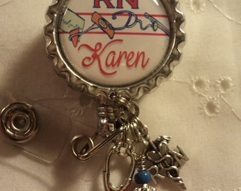Personalized RN badge reel with charms